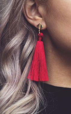 Carla. Silk Tassel Statement Drop Earrings Red