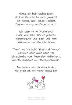 Eine ganz schnelle Muttertags-Geschenkidee für Kinder ist dieses liebevolle Muttertagsgedicht : Einfach nur abspeichern, ausdrucken, u...