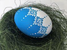 Easter Egg, Chicken Egg Pysanky in Blue, Wax Embossed Pysanka, Drop Pull Pysanky by EggstrArt on Etsy https://www.etsy.com/listing/521528079/easter-egg-chicken-egg-pysanky-in-blue