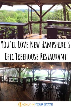 We love this magical treehouse restaurant in New Hampshire. It makes for a unique, romantic date night or just a fun time out with friends. Enjoy the food and the views at this seasonal eatery, which opens just in time for summer weather. Vacation Destinations, Dream Vacations, Vacation Spots, Vacation Ideas, East Coast Travel, East Coast Road Trip, New England States, New England Travel, New Hampshire Attractions