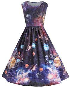 Women's Vintage Dresses Starry Sky Vintage Planet Space Dress - M . Pretty Outfits, Pretty Dresses, Beautiful Dresses, Cool Outfits, Teen Fashion Outfits, Fashion Dresses, Style Fashion, Petite Fashion, Curvy Fashion