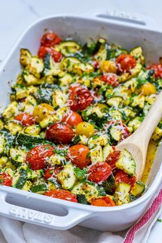 Clean Eating Garlicky Parmesan Zucchini Bake