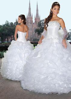 Ball Gown Strapless Ruffled Organza Floor-length Quinceanera Dress at sweetquinceaneradress.com