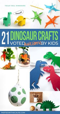 A collection of the 21+ best field tested child approved dinosaur crafts for kids to stay busy all summer! Join me in our at home summer camp for DINOSAUR WEEK to stomp, roar, and learn about all things dinosaur. Check it out at PartiesWithACause.com #summercamp #dinosaurcrafts #summeractivities Animal Crafts For Kids, Craft Projects For Kids, Easy Crafts For Kids, Easy Diy Crafts, Diy For Kids, Activities For Kids, Diy Projects, Kid Crafts, Preschool Crafts