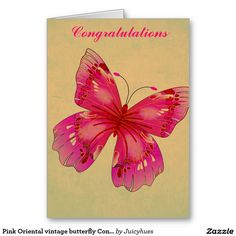 Pink Oriental vintage butterfly Congratulations Greeting Card