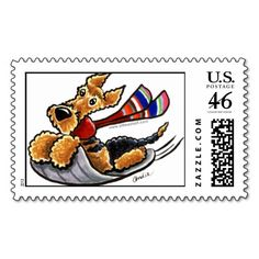 Aire-Sledding Airedale Terrier Winter Stamp   Click on photo to purchase. Check out all current coupon offers and save! http://www.zazzle.com/coupons?rf=238785193994622463&tc=pin