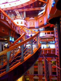 Winding staircase in the Carnival Miracle's Metropolis lobby area