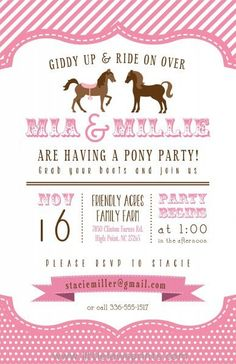 Vintage pony party planning ideas cake idea supplies decorations pony party invitations cute polka dot border filmwisefo Images