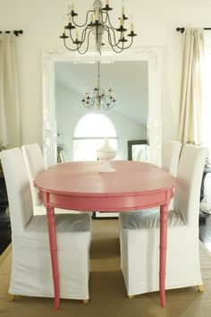 Dining room pink faux bamboo table large baroque wall floor leaner mirror #colorfurniture red