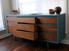 MidCentury Modern Dresser Blue On Hold by RevitalizedArtistry