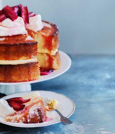 Lemon sour-cream cake with roasted rhubarb