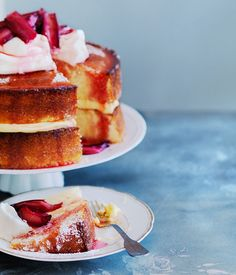 Lemon sour-cream cake with roasted rhubarb.