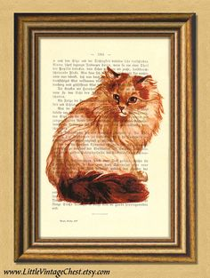 Your place to buy and sell all things handmade Turkish Van Cats, Dictionary Art, Recycled Art, Antique Books, Book Pages, Vintage Art, The Book, Cute Cats, Book Art
