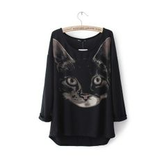 Long-Sleeved Round Neck Sweater Cat Face