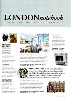 London Notebook: Luxury bathroom specialist Drummonds is opening a second London showroom http://drummonds-uk.com Homes & Gardens January 2014