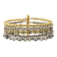 Shadows of Gold Bracelet | Fusion Beads Inspiration Gallery - gilded multi-strand bracelet glimmering with Swarovski bead shapes, so chic