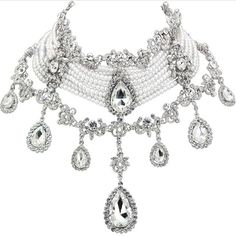 Luxury Victorian Hand Made Crystals & Pearls 7k White Gold Wedding Necklace with Earrings