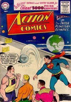 Action Comics 220 Superman Comic Cover hi-res First Superman, Superman Action Comics, Superman Comic, Dc Comics Art, Batman And Superman, Superman Family, Dc Comic Books, Comic Book Covers, Comic Art