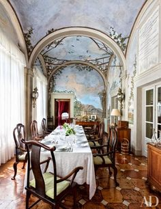 "The dining room, featured in the movie ""Up at the Villa"" - Villa Cetinale, Tuscany."
