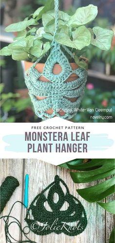 Crochet Home, Crochet Gifts, Free Crochet, Knit Crochet, Crochet Leaf Free Pattern, Crochet Summer, Crochet Plant Hanger, Plant Hangers, Crochet Leaves