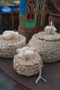Cestas tejidas hojas de maiz