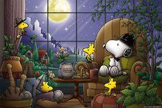 """(no words - """"Full Moon"""") --Peanuts Gang/Snoopy, Woodstock, & Woodstock's pals Peanuts Cartoon, Peanuts Snoopy, Peanuts Characters, Cartoon Characters, Goodnight Snoopy, Charlie Brown Y Snoopy, Totoro, Snoopy Und Woodstock, Woodstock Bird"""