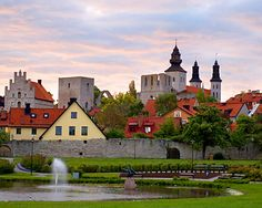 Visby, Gotland, Sweden! Very well preserved medieval town close to nice beaches and full of party and festivities in the summer.