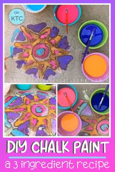 DIY Sidewalk Chalk Paint Recipe, We are sharing an Easy Sidewalk Chalk Art project that everyone can do. This Mosaic Sidewalk Chalk, Craft Activities For Kids, Preschool Crafts, Diy Crafts For Kids, Easter Crafts, Projects For Kids, Kids Diy, Outdoor Activities, Family Art Projects, Toddler Crafts