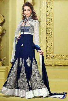 $113.5 Blue Faux Georgette Embroidery Long Designer Anarkali Salwar Suit 25228