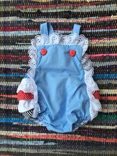 Alice in Wonderland Vintage Baby Romper by ShajoCreations on Etsy https://www.etsy.com/listing/231593110/alice-in-wonderland-vintage-baby-romper