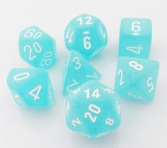 Keep cool with Frosted Dice (Teal). This RPG dice set is perfect for Dungeons & Dragons, Pathfinder, and all your favorite role playing games. This 7-piece set has all your favorite dice: d4, d6, d8,