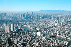 The landscape seen from the Skytree's observation deck, with Mount Fuji in the background