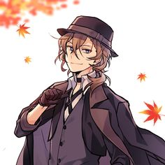Autumn is Chuuya's season because of his red hair Dazai Bungou Stray Dogs, Stray Dogs Anime, Anime Manga, Anime Guys, Anime Art, Chuuya Nakahara, Another Anime, Dog Art, Anime Characters