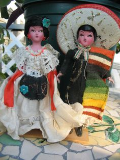 Vintage Mexican Souvenir Couple Dolls in Folklore by tessimal, $14.50
