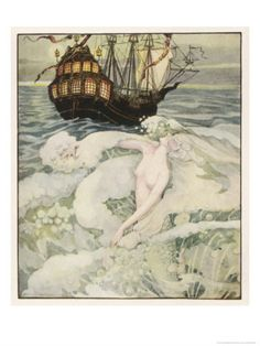 the little mermaid watches a ship, illustration by anne anderson, via art.com #anneanderson