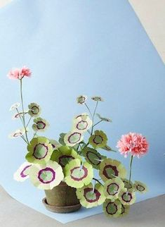 cactus plant SIZE: Approximately ( cm) tall. Geranium plant with hand painted leaves and 2 blossoms in a beautiful aged terra cotta pot. Unusual Plants, Rare Plants, Cool Plants, Cactus Plants, Exotic House Plants, Cactus Art, Succulents Garden, Pom Pom Flowers, Paper Flowers