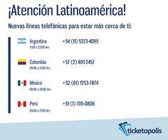 Amigos de Latinoamérica. Estamos muy felices y emocionados de estar cada día más cerca de ustedes. Gracias por su apoyo y recomendaciones entre sus amigos. ¡Tenemos grandes sorpresas en los próximos meses! ¡Contáctanos! Argentina: +54 (11) 5273-4095 Colombia: +57 (2) 891-2457 México: +52 (81) 1253-7874 Perú: +51 (1) 705-0806  #tips #evento #concierto #conferencia #simposium #congreso #carrera #cultura #software #boletos #tickets #eventprofs #organizaciondeeventos #conference