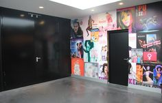 Poster walls at the entries for the pop hall in Theatre the Flint: design Suzanne Holtz Studio and ADP architects