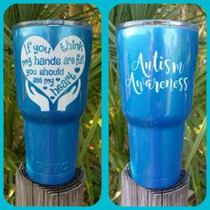 Autism Awareness 30 oz Blue Tumbler - Custom Powder Coat - NO Decals Personalize, Stainless Steel, Double-Wall Insulated Gift Autism Crafts, Tumbler Cups, Mom Tumbler, Custom Tumblers, Diy Tumblers, Custom Cups, Stainless Steel Straws, Personalized Cups, Insulated Tumblers