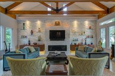 Painted Brick Fireplaces With Built In Shelves On The Side Design Ideas, Pictures, Remodel and Decor