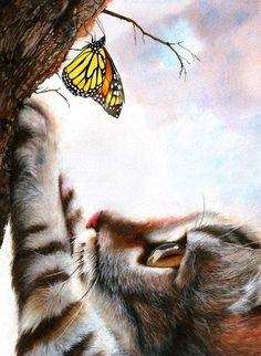 Peter Williams.  Animalism na aguarela.  Fascination.  Papel, aquarela, pastel, guache, lápis colorido.  15x11 avança