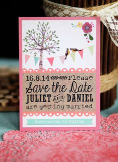Woodland Save the Date with tree, bunting and birds by In the Treehouse www.inthetreehouse.co.uk