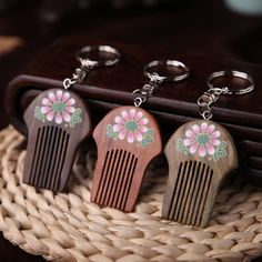 £1.53 GBP - Creative Wooden Hair Comb Keychain Flower Painting Keyring Handbag Pendant Gift #ebay #Fashion