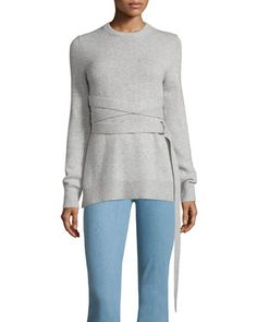 Wrap-Belt+Cashmere+Sweater,+Gray+by+Michael+Kors+Collection+at+Bergdorf+Goodman.