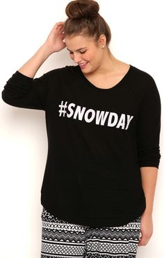 Deb Shops Plus Size High Low Crossover Hem Soft Knit Top with Snowday Screen $20.00