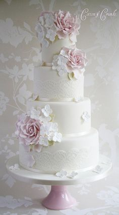 Vintage Couture White & Pink Wedding Cake