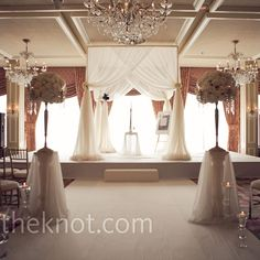 Simple and elegant white draped huppah // Todd James Photography // http://www.theknot.com/weddings/album/a-romantic-traditional-wedding-in-long-grove-il-97679