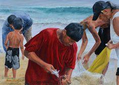 Taking Fish from the Net   by Burton Uhr #BurtonUhr #Oil #CedarStreetGalleries