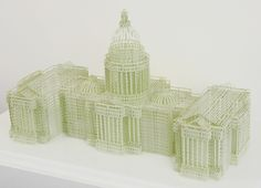Jill Sylvia — Untitled (U.S. Capitol Building). Hand-Cut Ledger Paper.  8 x 15 x 7 inches.  2008
