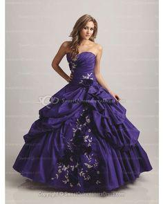 BallGown Sweetheart Taffeta Floor-length Purple Quinceanera Dress
